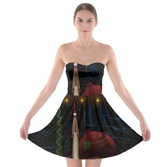 Christmas Xmas Bag Pattern Strapless Bra Top Dress