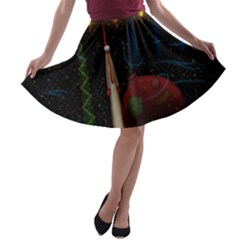 Christmas Xmas Bag Pattern A-line Skater Skirt