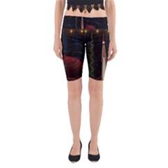 Christmas Xmas Bag Pattern Yoga Cropped Leggings