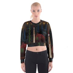 Christmas Xmas Bag Pattern Women s Cropped Sweatshirt