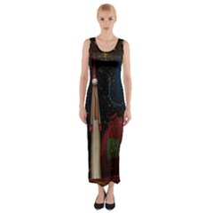 Christmas Xmas Bag Pattern Fitted Maxi Dress