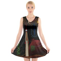 Christmas Xmas Bag Pattern V-Neck Sleeveless Skater Dress