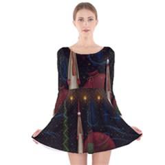 Christmas Xmas Bag Pattern Long Sleeve Velvet Skater Dress