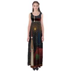 Christmas Xmas Bag Pattern Empire Waist Maxi Dress