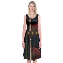 Christmas Xmas Bag Pattern Midi Sleeveless Dress