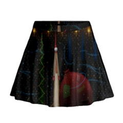 Christmas Xmas Bag Pattern Mini Flare Skirt