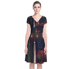 Christmas Xmas Bag Pattern Short Sleeve Front Wrap Dress