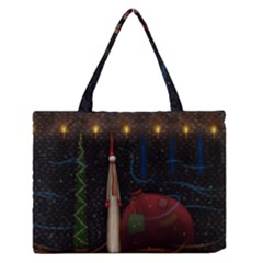 Christmas Xmas Bag Pattern Medium Zipper Tote Bag