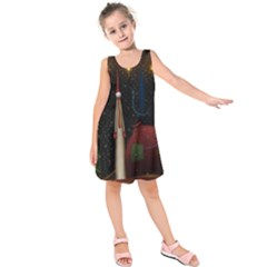Christmas Xmas Bag Pattern Kids  Sleeveless Dress
