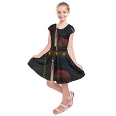 Christmas Xmas Bag Pattern Kids  Short Sleeve Dress