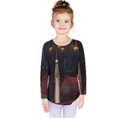 Christmas Xmas Bag Pattern Kids  Long Sleeve Tee