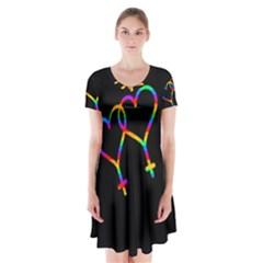 Love is love Short Sleeve V-neck Flare Dress
