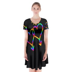 Love is love Short Sleeve V-neck Flare Dress