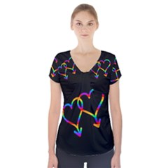 Love is love Short Sleeve Front Detail Top