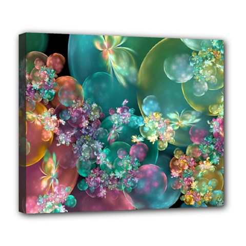 Butterflies, Bubbles, And Flowers Deluxe Canvas 24  x 20
