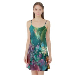 Butterflies, Bubbles, And Flowers Satin Night Slip