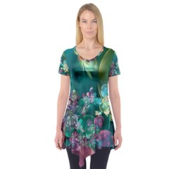Butterflies, Bubbles, And Flowers Short Sleeve Tunic