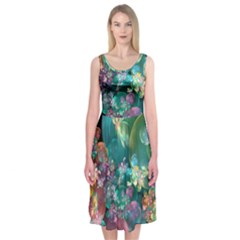 Butterflies, Bubbles, And Flowers Midi Sleeveless Dress