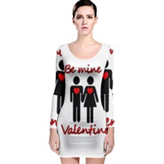 Be mine Valentine Long Sleeve Bodycon Dress