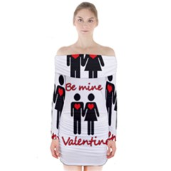 Be mine Valentine Long Sleeve Off Shoulder Dress