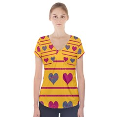 Decorative harts pattern Short Sleeve Front Detail Top