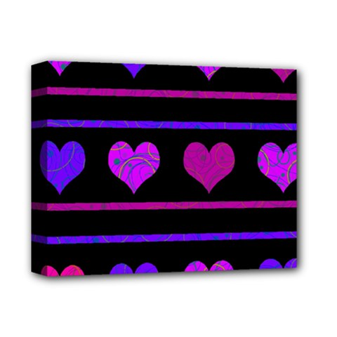 Purple and magenta harts pattern Deluxe Canvas 14  x 11
