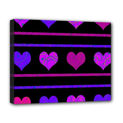 Purple and magenta harts pattern Deluxe Canvas 20  x 16