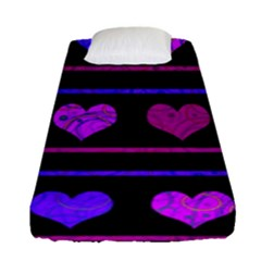 Purple And Magenta Harts Pattern Fitted Sheet (single Size)
