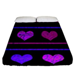 Purple And Magenta Harts Pattern Fitted Sheet (queen Size)