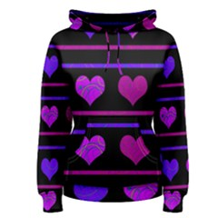Purple and magenta harts pattern Women s Pullover Hoodie