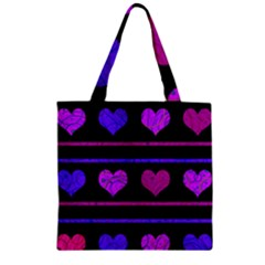 Purple and magenta harts pattern Zipper Grocery Tote Bag