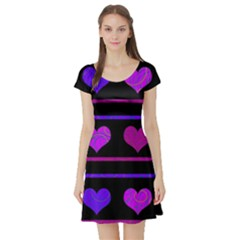 Purple and magenta harts pattern Short Sleeve Skater Dress