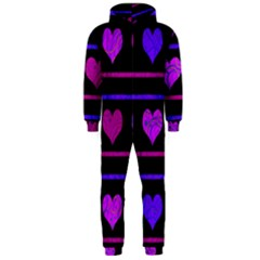 Purple and magenta harts pattern Hooded Jumpsuit (Men)
