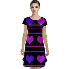 Purple and magenta harts pattern Cap Sleeve Nightdress