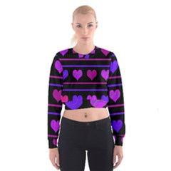Purple and magenta harts pattern Women s Cropped Sweatshirt