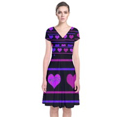 Purple and magenta harts pattern Short Sleeve Front Wrap Dress