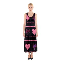 Pink elegant harts pattern Sleeveless Maxi Dress
