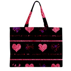 Pink elegant harts pattern Zipper Mini Tote Bag