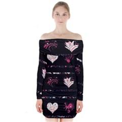 Elegant harts pattern Long Sleeve Off Shoulder Dress