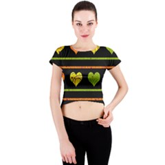 Colorful harts pattern Crew Neck Crop Top