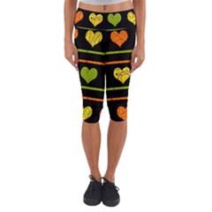Colorful harts pattern Capri Yoga Leggings