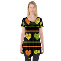 Colorful harts pattern Short Sleeve Tunic
