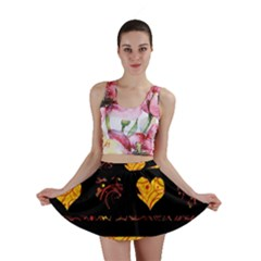 Yellow harts pattern Mini Skirt