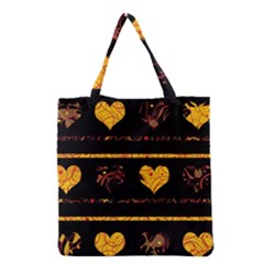 Yellow harts pattern Grocery Tote Bag