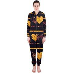 Yellow harts pattern Hooded Jumpsuit (Ladies)