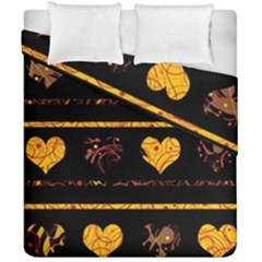 Yellow Harts Pattern Duvet Cover Double Side (california King Size)