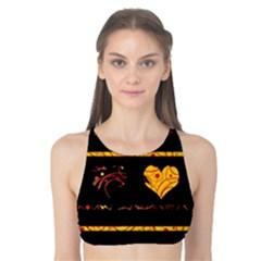 Yellow harts pattern Tank Bikini Top