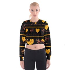 Yellow harts pattern Women s Cropped Sweatshirt
