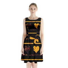 Yellow harts pattern Sleeveless Chiffon Waist Tie Dress