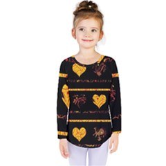 Yellow Harts Pattern Kids  Long Sleeve Tee